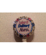 Labor Delivery Nurse Badge Reel Id Holder Swarovski Crystals Handmade Pi... - $10.99