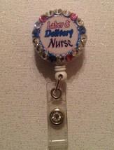 Labor Delivery Nurse Badge Reel Id Holder Swarovski Crystals Handmade Pi... - $9.95