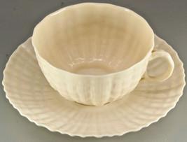 BELLEEK Irish Porcelain Iridescent TRIDACNA SHELL Tea Cup & Saucer 4th 1... - $29.00