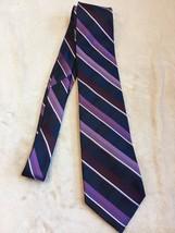 Michael Kors Men's Silk Tie Striped Purple Pattern (Z9) - $12.86