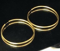 "Vintage 1970s 1mm Thin Shiny Gold Tone Hoop 1 3/8"" Diameter Pierced Earr... - $14.00"