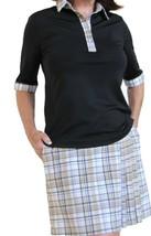 Stylish Women's Golf & Casual Tan Short Sleeve Collar Top, Swarovski Buttons  image 3