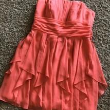 Davids Bridal Dress Strapless #F14169 Size 16 Bridesmaid Formal Salmon - £9.27 GBP