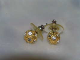 Vintage Small Bumpy Goldtone w Inlaid Clear Rhinestone Bead Ball Post Earrings  - $8.59