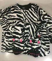 Nick & Nora Womens 2XL Zebra Black White One Piece Fleece Footed Pajamas  - $33.81