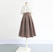 A-line Winter Tweed Skirt Outfit High Waisted Plus Size Burgundy image 2