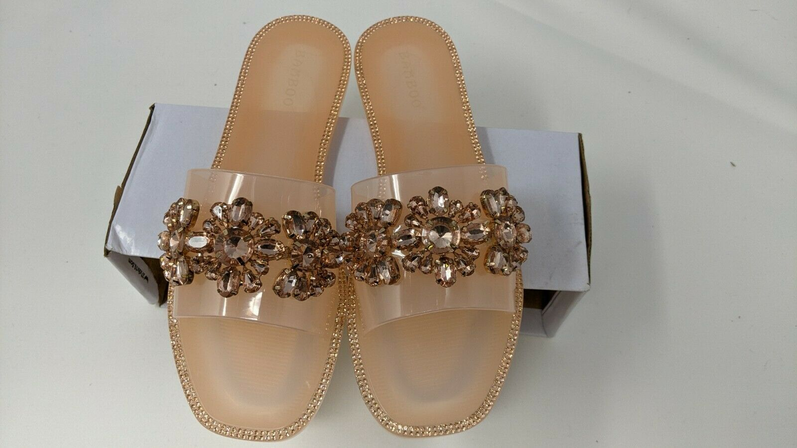 Primary image for NWT Bamboo Slip On Jelly Sandal Embossed Flowered Jewels Nude Pink, Size (US 8)