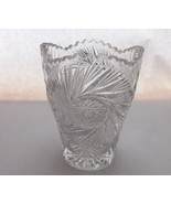 "Glass Vase Cosmic Star Cut Glass Saw Tooth Rimmed 5"" Vintage Vase or Can... - $21.99"