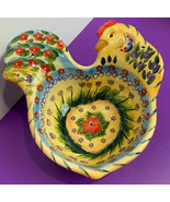 Fontana Hand Painted Rooster Shaped Bowl Salsa Floral Tabletops Unlimited - $15.83