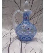 FENTON ART GLASS 1999 COBALT FRENCH OPALESCENT DIAMOND OPTIC HP CRUET - $145.00