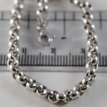 18K WHITE GOLD CHAIN 19.70 IN, BIG ROUND CIRCLE ROLO LINK, 4 MM MADE IN ITALY image 2