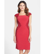 NWT Adrianna Papell  Red Lace Blocked Banded Sheath  Dress size 4 $160 - $47.02