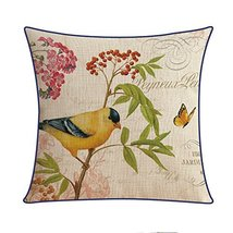 Kylin Express American Pastoral Thick Cotton Pillow Case Bird, B - $20.58