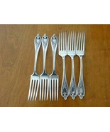 6 OLD COLONY 1847 Rogers Bros Silverplate XS SOLID DINNER FORK ART DECO ... - $29.99