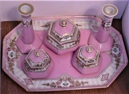 Vtg Noritake Pink White Enamel Gold Gilt Condiment Set 9 Pieces Rare & Beautiful - $269.99