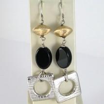 Ohrringe aus Silber 925 Rhodium Anhänger mit Onyx Schwarz Oval Glänzend image 1