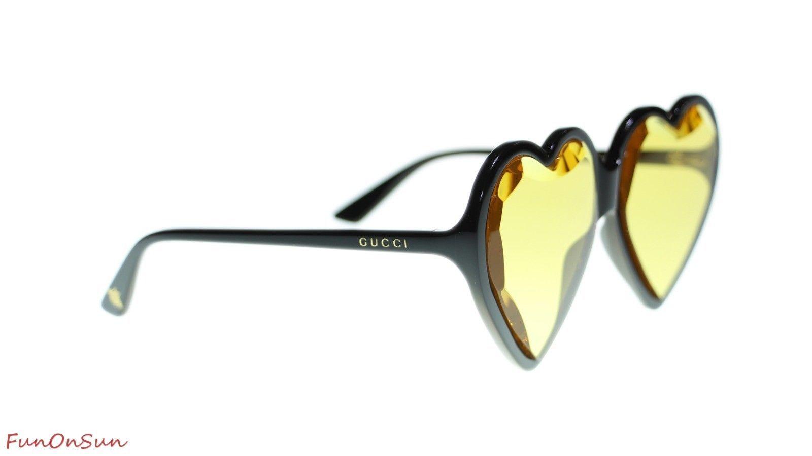 bd02189fbee Gucci Women Heart Sunglasses GG0360S 002 Black Yellow Lens 60mm