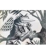 Kliban Cat Framed Print Kitty in Tree with Bird Beak & Wings Mask 10.75 ... - $38.69