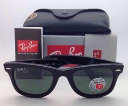 New Ray-Ban Polarized Sunglasses RB 2140 901/58 54-18 WAYFARER Black Frame/Green image 10