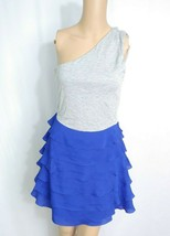 Rory Beca x Forever 21 Colorblock One Shoulder Dress S Gray Royal Blue Ruffle - $9.50