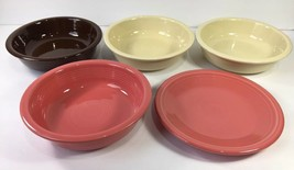 Fiestaware Cereal Bowl Salad Plate Lot Ivory Chocolate Brown Pink Flamingo 5 pc - $48.37