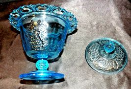 Blue Pedestal Candy Compote Depression Glass 2 piece AA19-CD0025 Vintage image 6