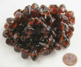 """34"""" ESTATE VINTAGE Jewelry CHUNKY AMBER GLASS NUGGET HAND KNOTTED BEAD N... - $65.00"""