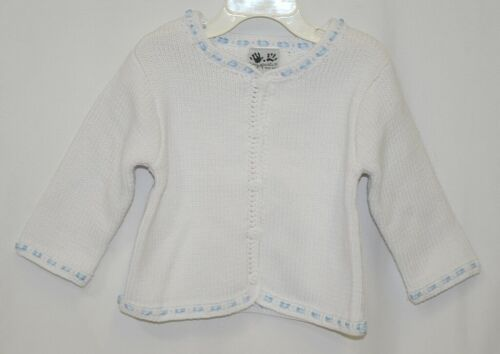 Fingerprints New York White Blue Ribbon Button Sweater 12 Month