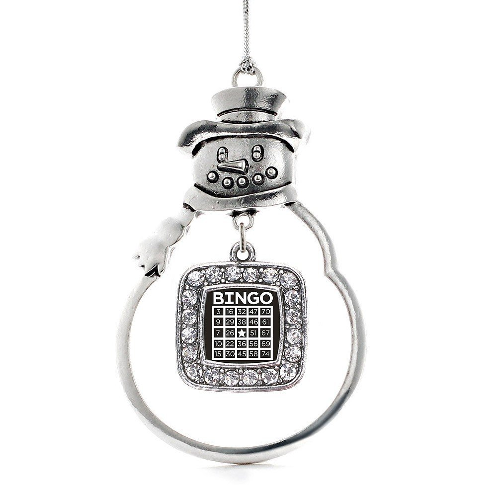 Primary image for Inspired Silver Bingo Classic Snowman Holiday Christmas Tree Ornament With Cryst