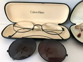 2 Calvin Klein Eyeglasses Frames + Clip-on Shades Italy Japan Hard Cases Vintage - $98.01