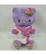 Build a Bear Workshop BABW Purple Tie Dye Flower Hello Kitty Love Plush w Robe - $44.30
