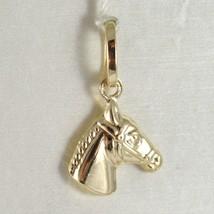 Yellow gold pendant 750 18k mini horse head pendant, length 1.9 cm image 1