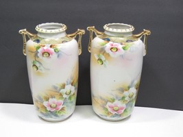 "Pair Imperial Nippon Vases Hand Painted Handled Floral 8"" - $69.30"