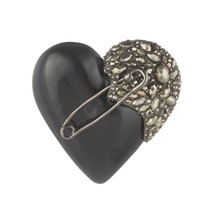 Alexis Bittar Vintage Black Lucite Heart Brooch Pin - $275.83