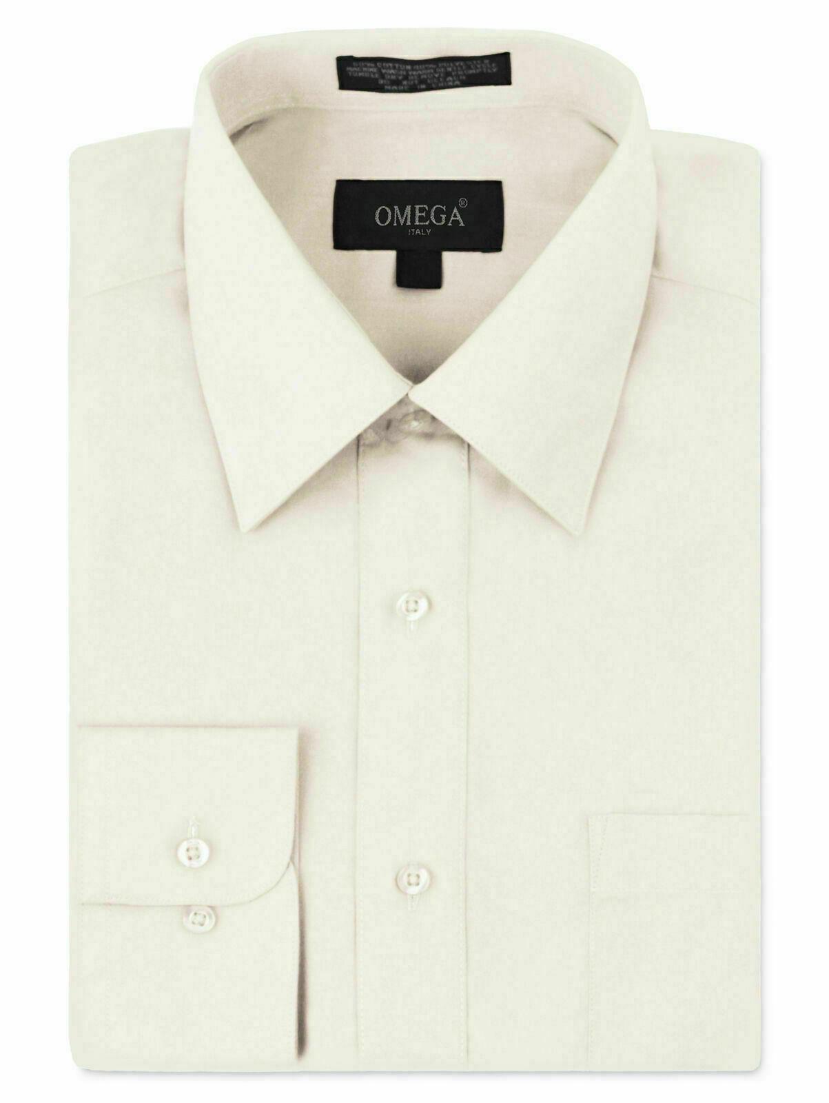 Omega Italy Men's Long Sleeve Solid Regular Fit Ivory Dress Shirt - 3XL