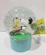 Peanuts Snoopy Woodstock Easter Egg Spring Water Snow Globe Light Up Hom... - $49.99