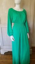 Medium Vintage 1970s 70s Wide Leg Green Jumpsuit Romper Sexy Rare - $168.30