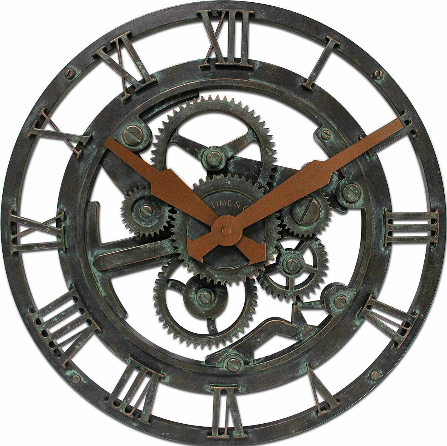 "Primary image for Gears Open Face 15"" Large Round Wall Clock, Modern Design Quartz - NEW"