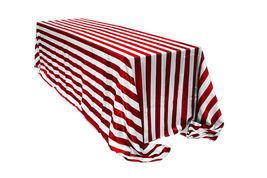 Satin Tablecloth Red/White Striped 90 x 156 inch Rectangular - $49.99