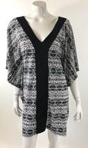Dotti Womens Swim Coverup Beach Dress XL Black White Geometric Kimono Sl... - $31.67