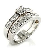3/4 Carat Premium Russian Princess Cut CZ Rhodium Plated Wedding Ring Se... - $29.99