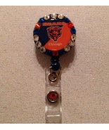 Nfl Chicago Bears Badge Reel Id Holder Swarovski orange blue alligator c... - $9.95