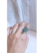 Antique Silver Leaf ring, Adjustable ring,Peafowl Ring,Minimalist Silver... - $34.50