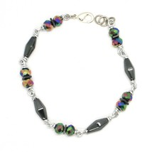 Bracelet the Aluminium Long 19 Inch with Hematite and Crystal Colorful image 1