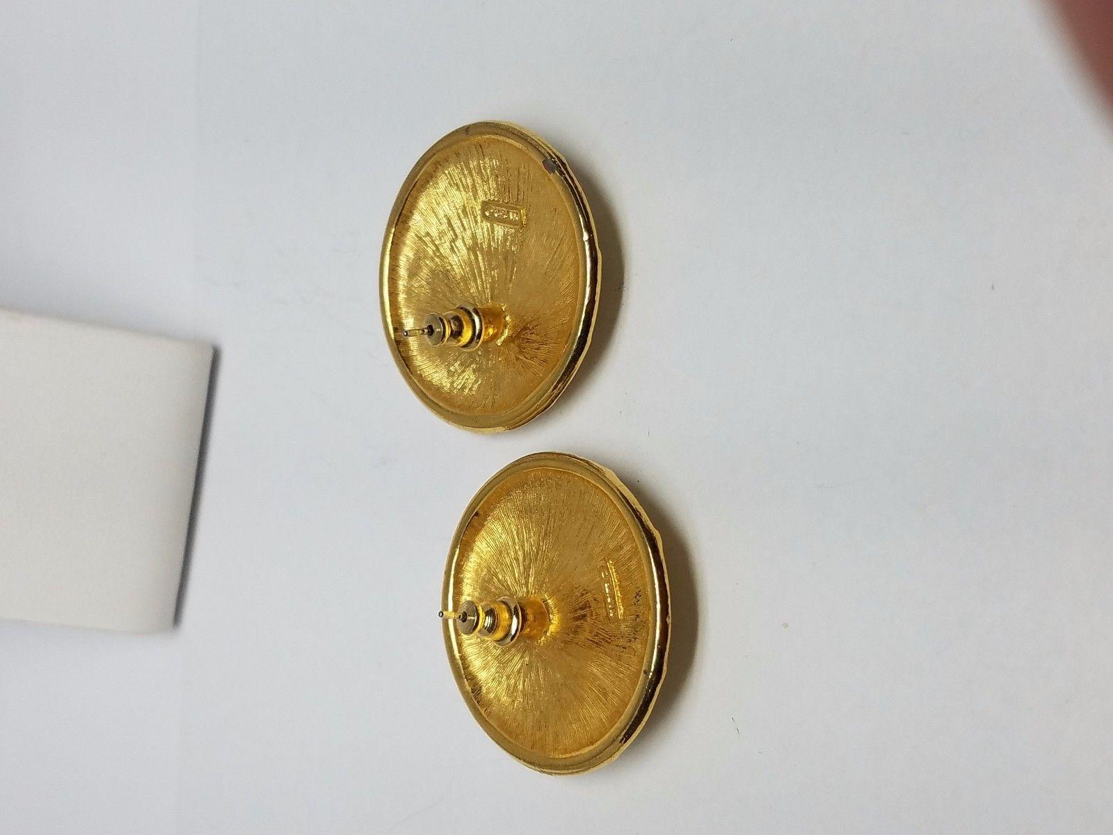 Napier White Enamel Gold Tone Vintage Earrings