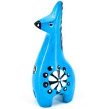 Tabaka Chigware Hand Carved Kisii Soapstone Miniature Blue Giraffe Figurine image 1