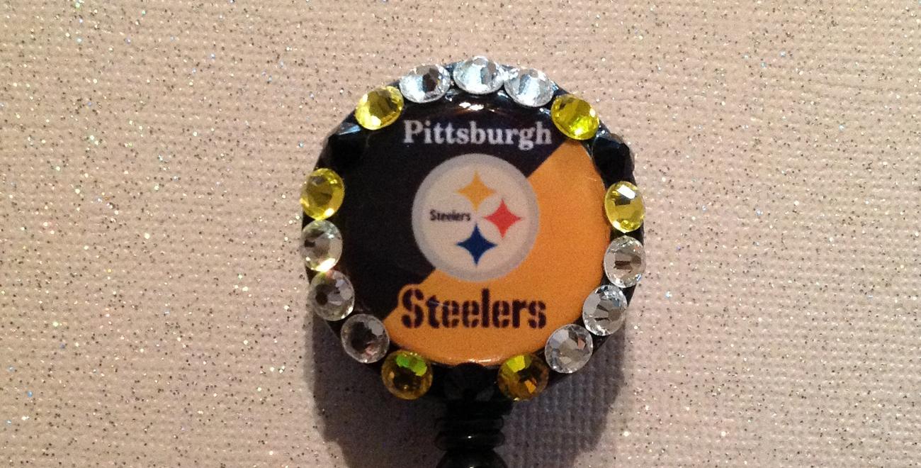 Nfl Pittsburgh Steelers Badge Reel Id Holder Swarvoski yellow black alligator