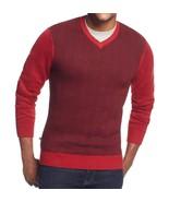 Geoffrey Beene Sweater Men's Red Wine Black Chevron V-Neck Knit Pullover... - $26.99