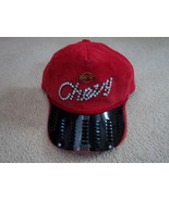 Vintage Red Corduroy Chevy Hat With Rhinestones and Metal Gr - $24.99