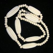 Antique Vintage Carved Bone Ribbed Necklace Fluted Beads - $450.00